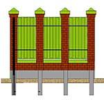 цена на Забор из профлиста с кирпичными столбами