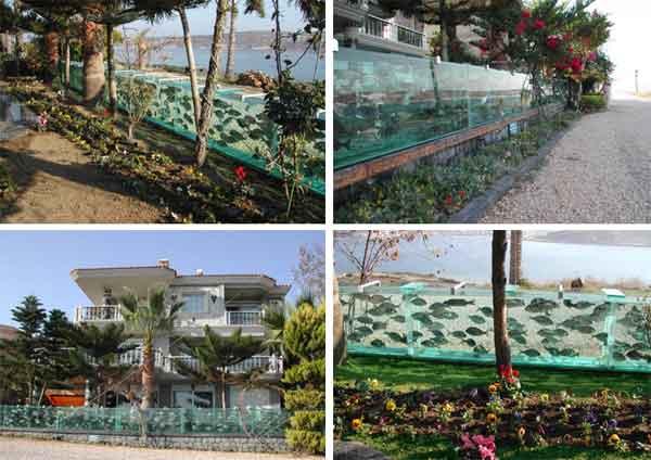 Заборы из аквариумов