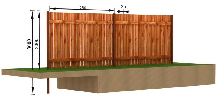 Деревянный забор - чертёж